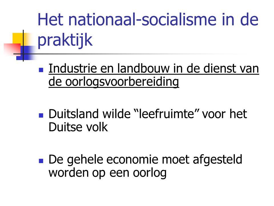 Het nationaal-socialisme in de praktijk  Industrie en landbouw in de dienst van de oorlogsvoorbereiding  Duitsland wilde leefruimte voor het Duitse volk  De gehele economie moet afgesteld worden op een oorlog