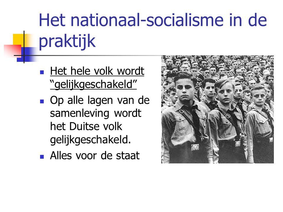 Het nationaal-socialisme in de praktijk  Het hele volk wordt gelijkgeschakeld  Op alle lagen van de samenleving wordt het Duitse volk gelijkgeschakeld.