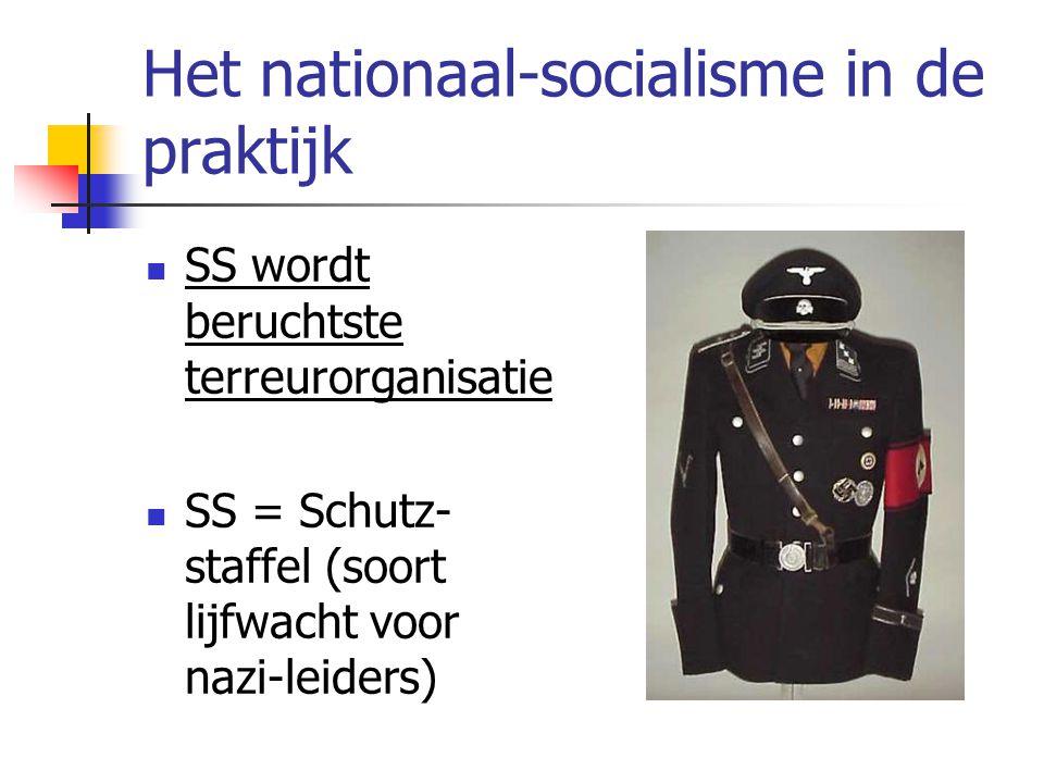 Het nationaal-socialisme in de praktijk  SS wordt beruchtste terreurorganisatie  SS = Schutz- staffel (soort lijfwacht voor nazi-leiders)