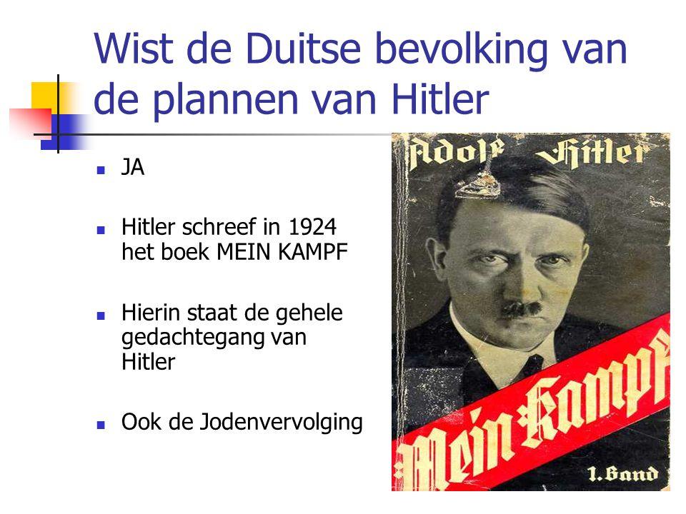 Wist de Duitse bevolking van de plannen van Hitler  JA  Hitler schreef in 1924 het boek MEIN KAMPF  Hierin staat de gehele gedachtegang van Hitler  Ook de Jodenvervolging