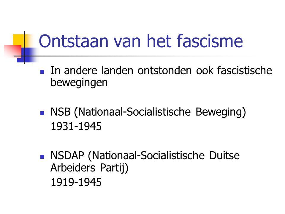 Ontstaan van het fascisme  In andere landen ontstonden ook fascistische bewegingen  NSB (Nationaal-Socialistische Beweging) 1931-1945  NSDAP (Nationaal-Socialistische Duitse Arbeiders Partij) 1919-1945