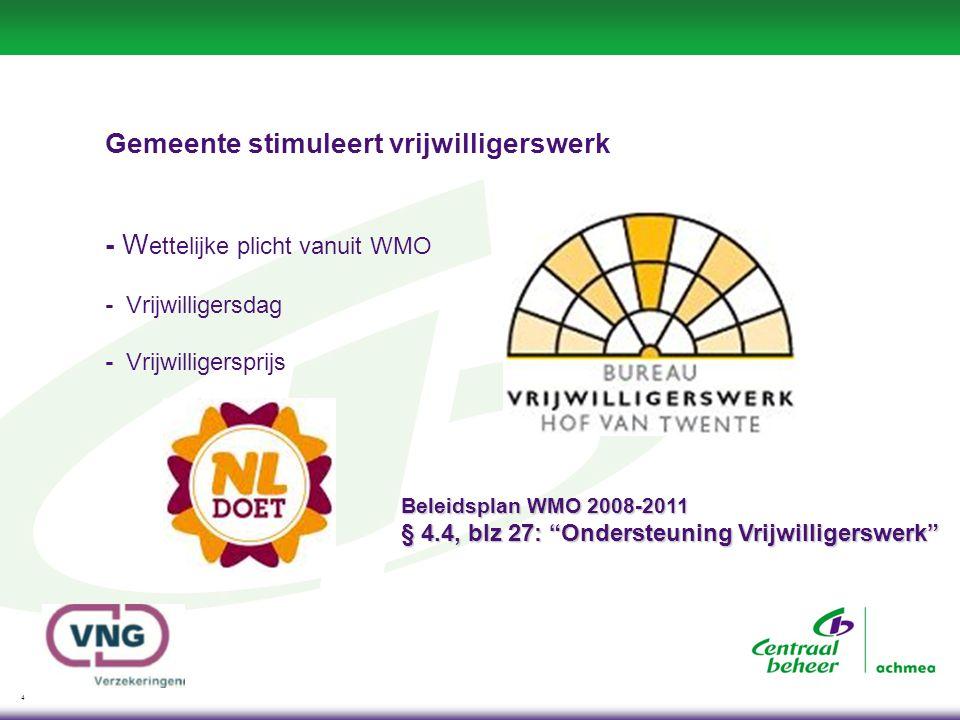 4 Gemeente stimuleert vrijwilligerswerk - W ettelijke plicht vanuit WMO - Vrijwilligersdag - Vrijwilligersprijs Beleidsplan WMO 2008-2011 § 4.4, blz 27: Ondersteuning Vrijwilligerswerk