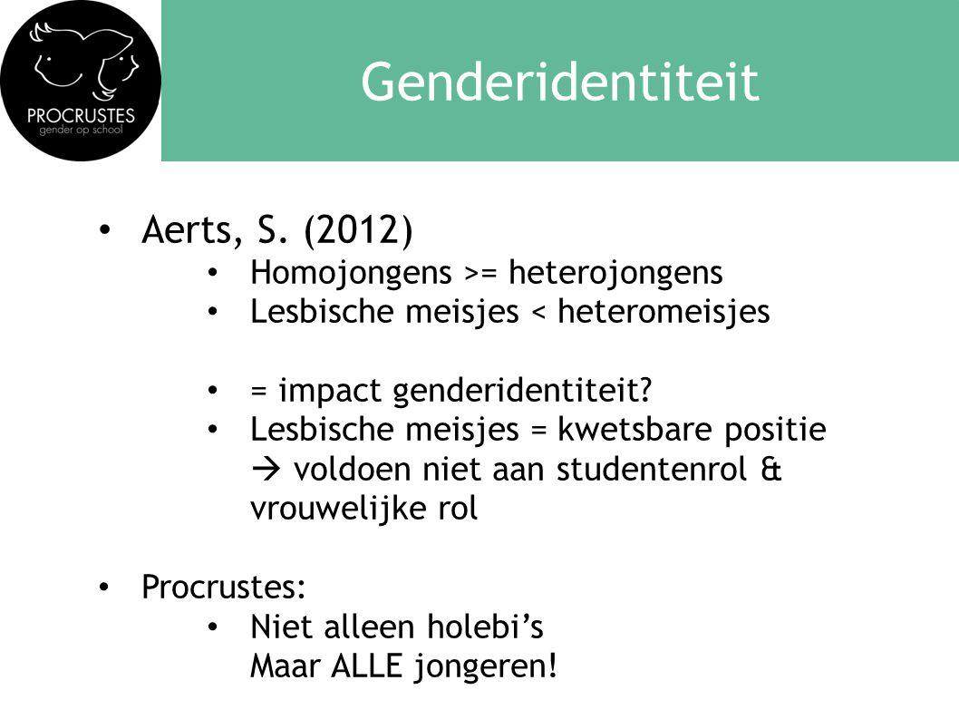 Genderidentiteit • Aerts, S. (2012) • Homojongens >= heterojongens • Lesbische meisjes < heteromeisjes • = impact genderidentiteit? • Lesbische meisje