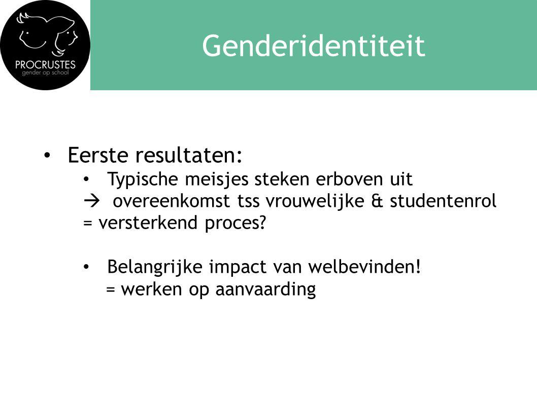 • Eerste resultaten: • Typische meisjes steken erboven uit  overeenkomst tss vrouwelijke & studentenrol = versterkend proces? • Belangrijke impact va