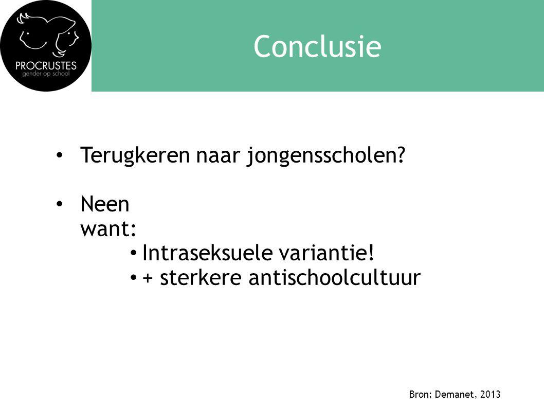 Conclusie • Terugkeren naar jongensscholen? • Neen want: • Intraseksuele variantie! • + sterkere antischoolcultuur Bron: Demanet, 2013