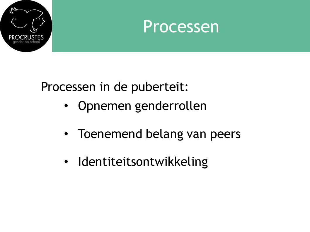 Processen Processen in de puberteit: • Opnemen genderrollen • Toenemend belang van peers • Identiteitsontwikkeling