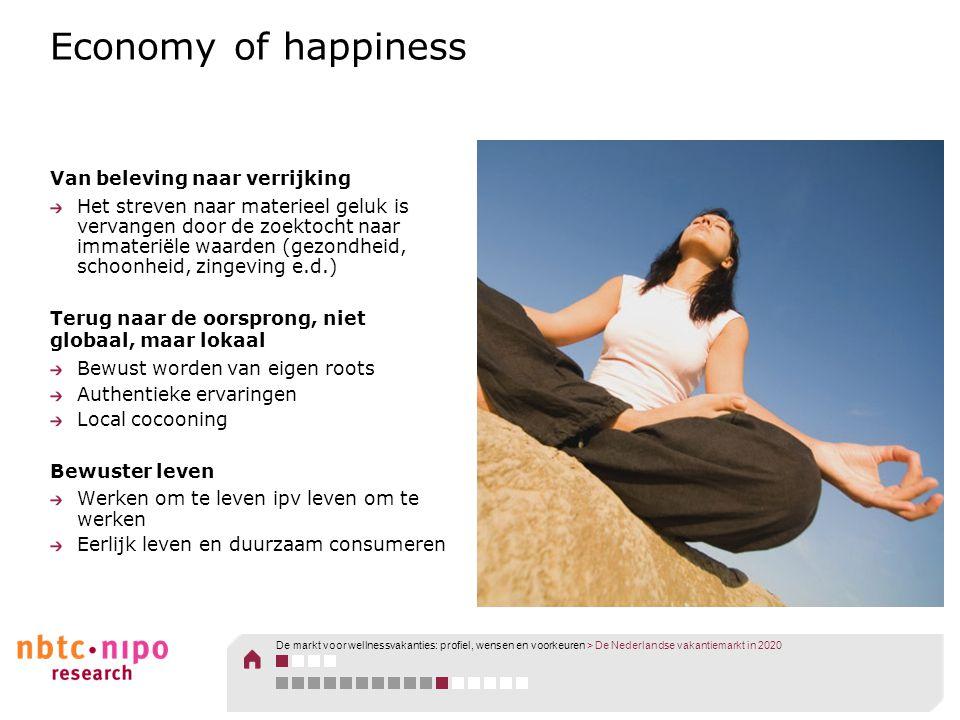 Economy of happiness Van beleving naar verrijking Het streven naar materieel geluk is vervangen door de zoektocht naar immateriële waarden (gezondheid