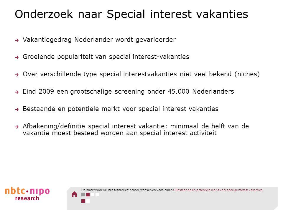 Onderzoek naar Special interest vakanties Vakantiegedrag Nederlander wordt gevarieerder Groeiende populariteit van special interest-vakanties Over ver