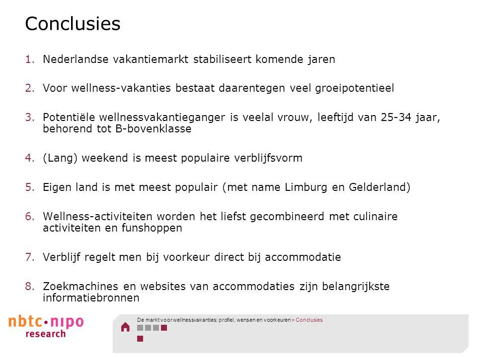 1.Nederlandse vakantiemarkt stabiliseert komende jaren 2.Voor wellness-vakanties bestaat daarentegen veel groeipotentieel 3.Potentiële wellnessvakanti