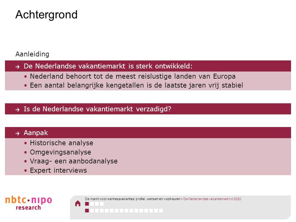 Achtergrond Aanleiding De Nederlandse vakantiemarkt is sterk ontwikkeld: •Nederland behoort tot de meest reislustige landen van Europa •Een aantal bel