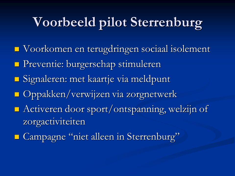 Voorbeeld pilot Sterrenburg  Voorkomen en terugdringen sociaal isolement  Preventie: burgerschap stimuleren  Signaleren: met kaartje via meldpunt 