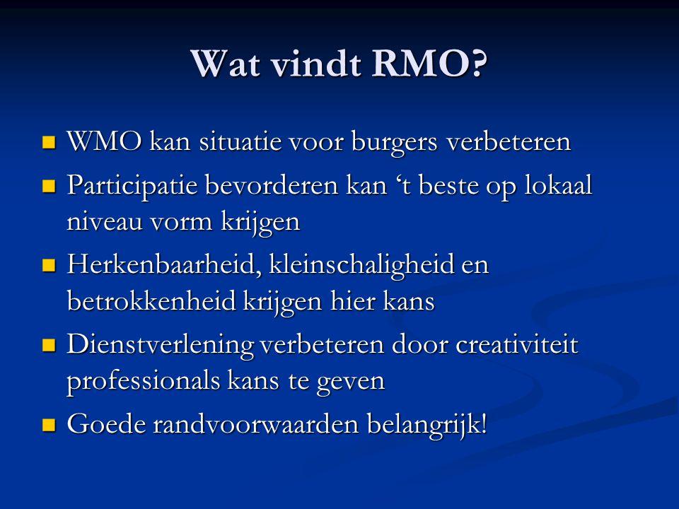 Wat vindt RMO?  WMO kan situatie voor burgers verbeteren  Participatie bevorderen kan 't beste op lokaal niveau vorm krijgen  Herkenbaarheid, klein