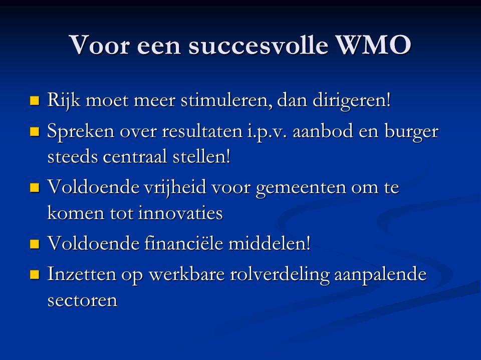 Voor een succesvolle WMO  Rijk moet meer stimuleren, dan dirigeren!  Spreken over resultaten i.p.v. aanbod en burger steeds centraal stellen!  Vold