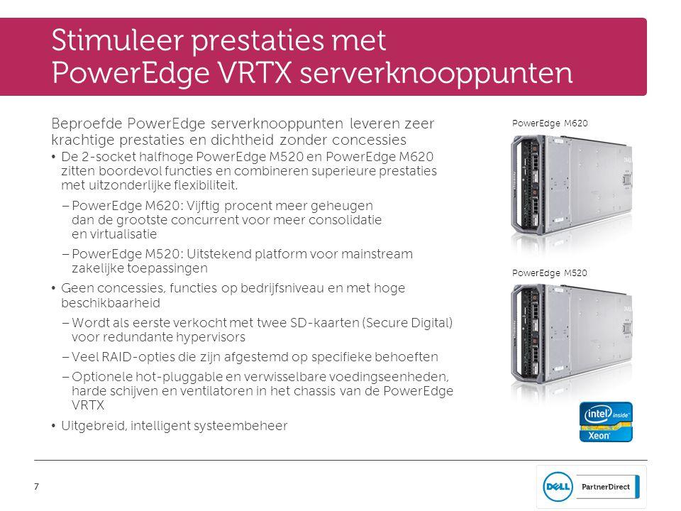 7 PowerEdge M520 PowerEdge M620 Stimuleer prestaties met PowerEdge VRTX serverknooppunten Beproefde PowerEdge serverknooppunten leveren zeer krachtige