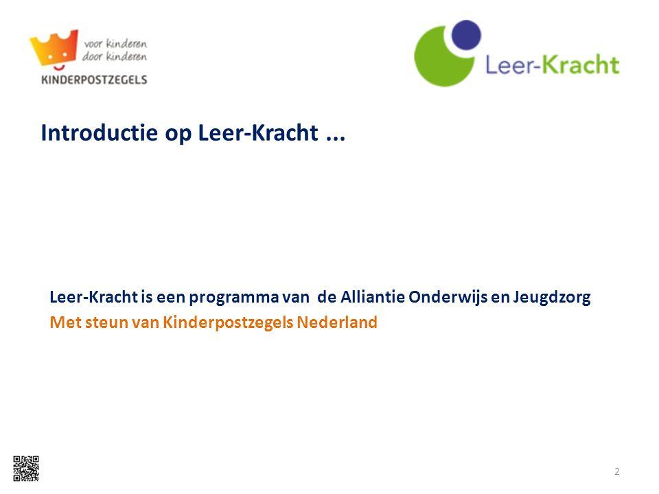 Introductie op Leer-Kracht... Leer-Kracht is een programma van de Alliantie Onderwijs en Jeugdzorg Met steun van Kinderpostzegels Nederland 2