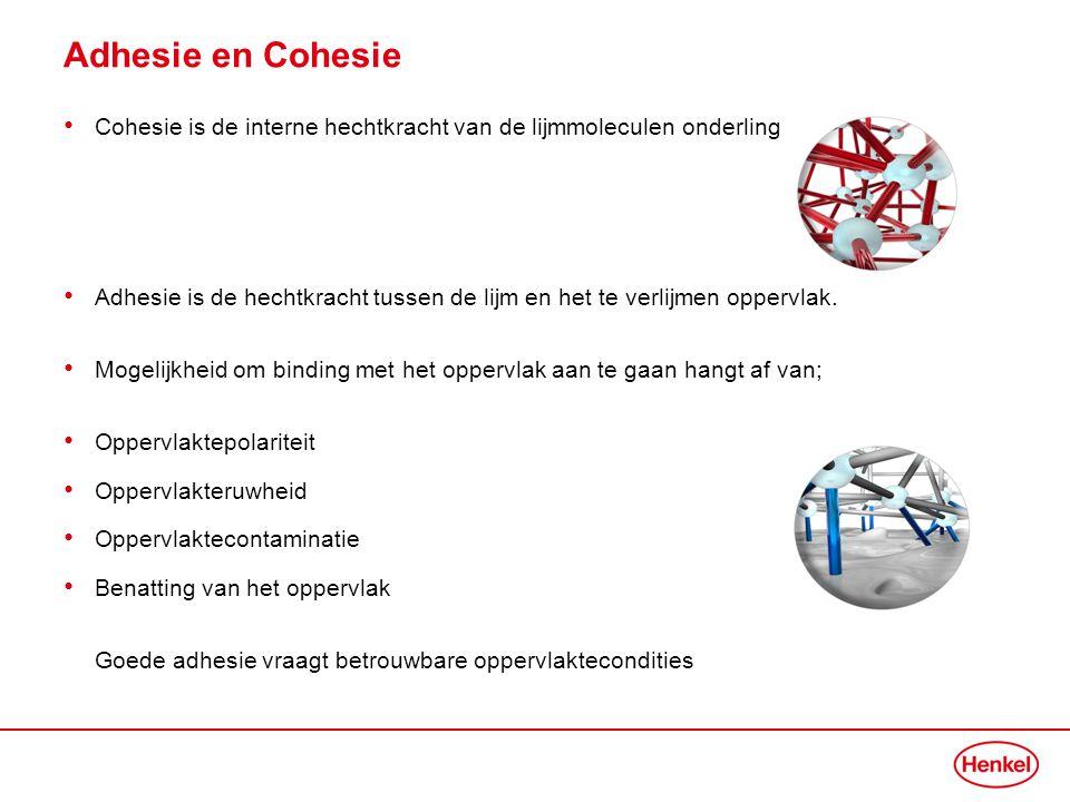 Adhesie en Cohesie • Cohesie is de interne hechtkracht van de lijmmoleculen onderling • Adhesie is de hechtkracht tussen de lijm en het te verlijmen o