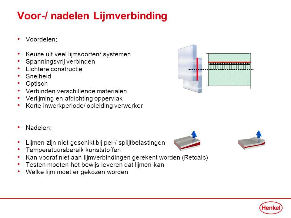Voor-/ nadelen Lijmverbinding • Voordelen; • Keuze uit veel lijmsoorten/ systemen • Spanningsvrij verbinden • Lichtere constructie • Snelheid • Optisc