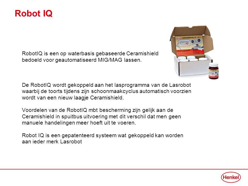 Robot IQ RobotIQ is een op waterbasis gebaseerde Ceramishield bedoeld voor geautomatiseerd MIG/MAG lassen. De RobotIQ wordt gekoppeld aan het lasprogr