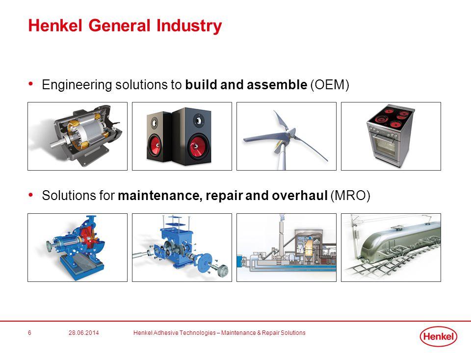 28.06.2014Henkel Adhesive Technologies – Maintenance & Repair Solutions6 Henkel General Industry • Engineering solutions to build and assemble (OEM) •