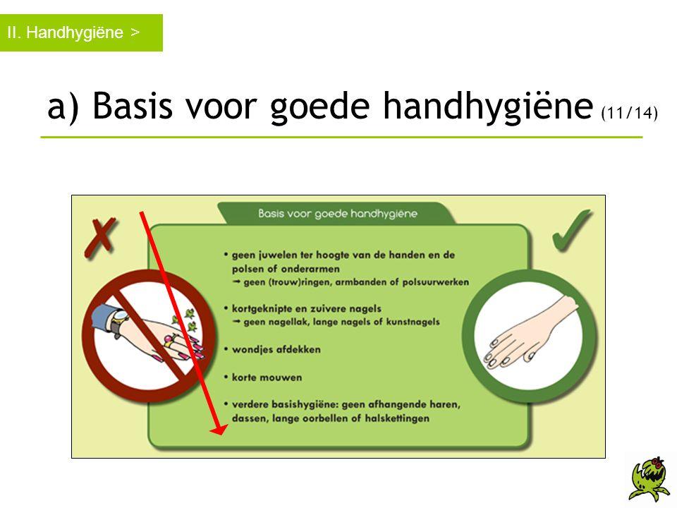 II. Handhygiëne > a) Basis voor goede handhygiëne (11/14)