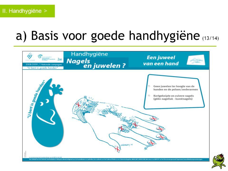 II. Handhygiëne > a) Basis voor goede handhygiëne (13/14)