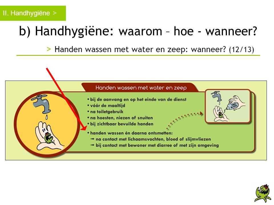 b) Handhygiëne: waarom – hoe - wanneer? > Handen wassen met water en zeep: wanneer? (12/13) II. Handhygiëne >