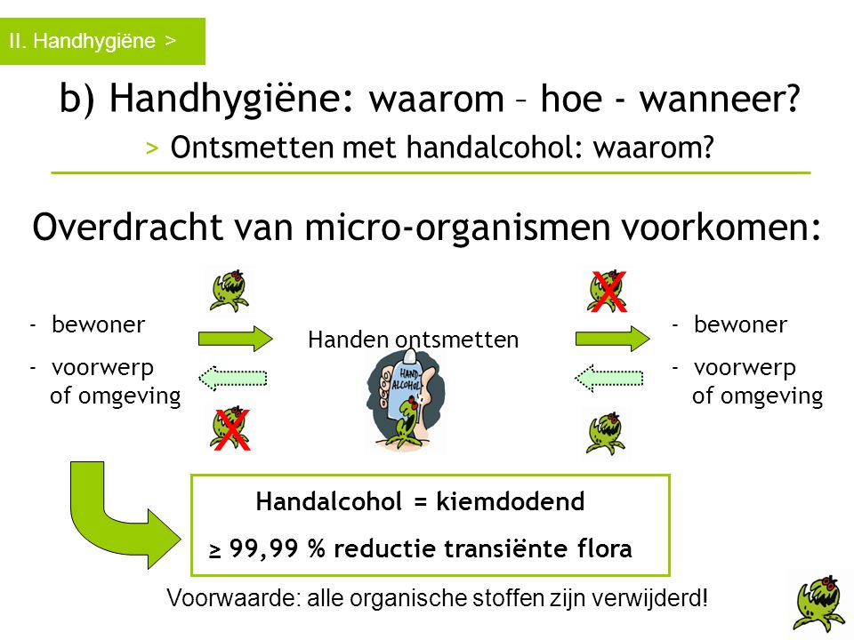 b) Handhygiëne: waarom – hoe - wanneer? > Ontsmetten met handalcohol: waarom? II. Handhygiëne > Overdracht van micro-organismen voorkomen: Handen onts