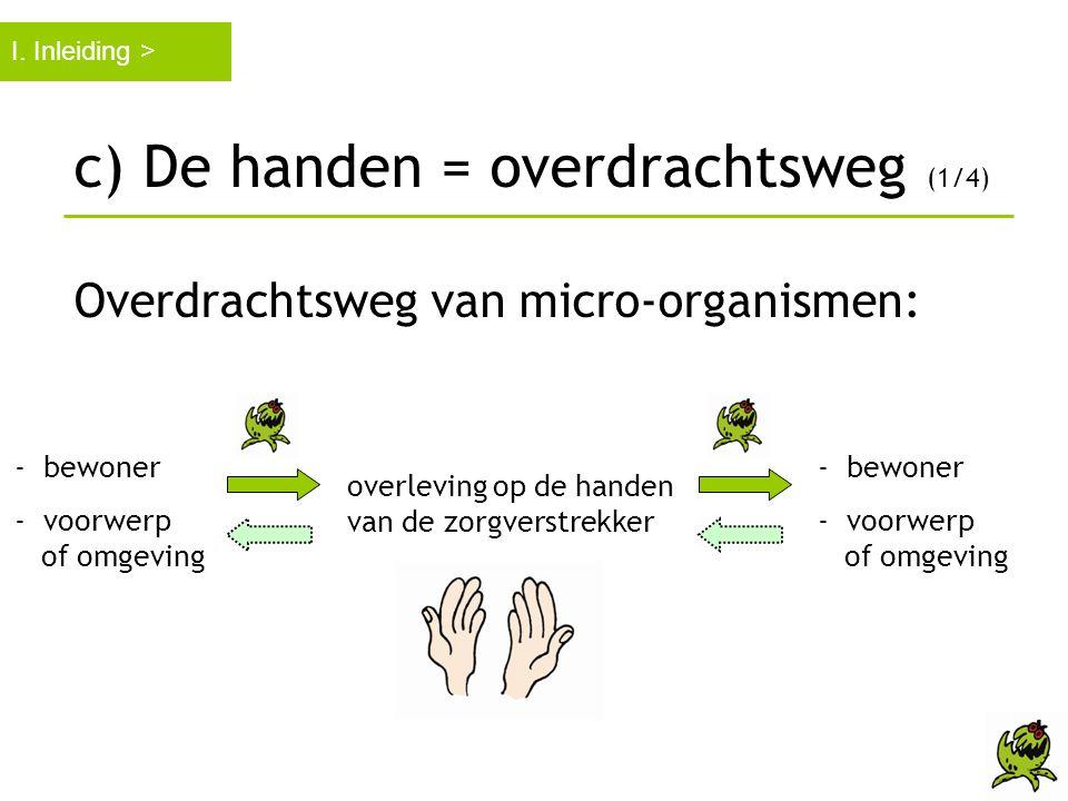c) De handen = overdrachtsweg (1/4) Overdrachtsweg van micro-organismen: I. Inleiding > - bewoner - voorwerp of omgeving - bewoner - voorwerp of omgev