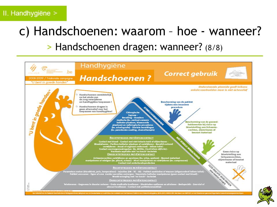 c) Handschoenen: waarom – hoe - wanneer? > Handschoenen dragen: wanneer? (8/8) II. Handhygiëne >