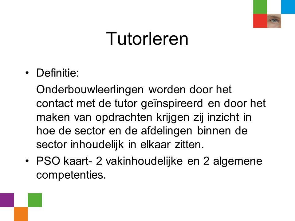 Tutorleren •Definitie: Onderbouwleerlingen worden door het contact met de tutor geïnspireerd en door het maken van opdrachten krijgen zij inzicht in h