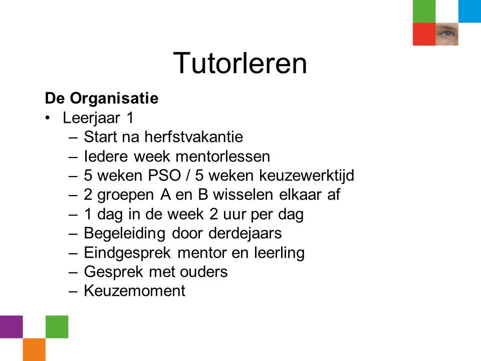 Tutorleren De Organisatie •Leerjaar 1 –Start na herfstvakantie –Iedere week mentorlessen –5 weken PSO / 5 weken keuzewerktijd –2 groepen A en B wissel