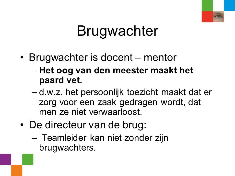 Brugwachter •Brugwachter is docent – mentor –Het oog van den meester maakt het paard vet. –d.w.z. het persoonlijk toezicht maakt dat er zorg voor een