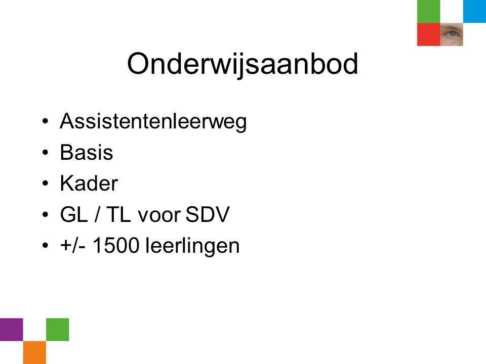 Onderwijsaanbod •Assistentenleerweg •Basis •Kader •GL / TL voor SDV •+/- 1500 leerlingen