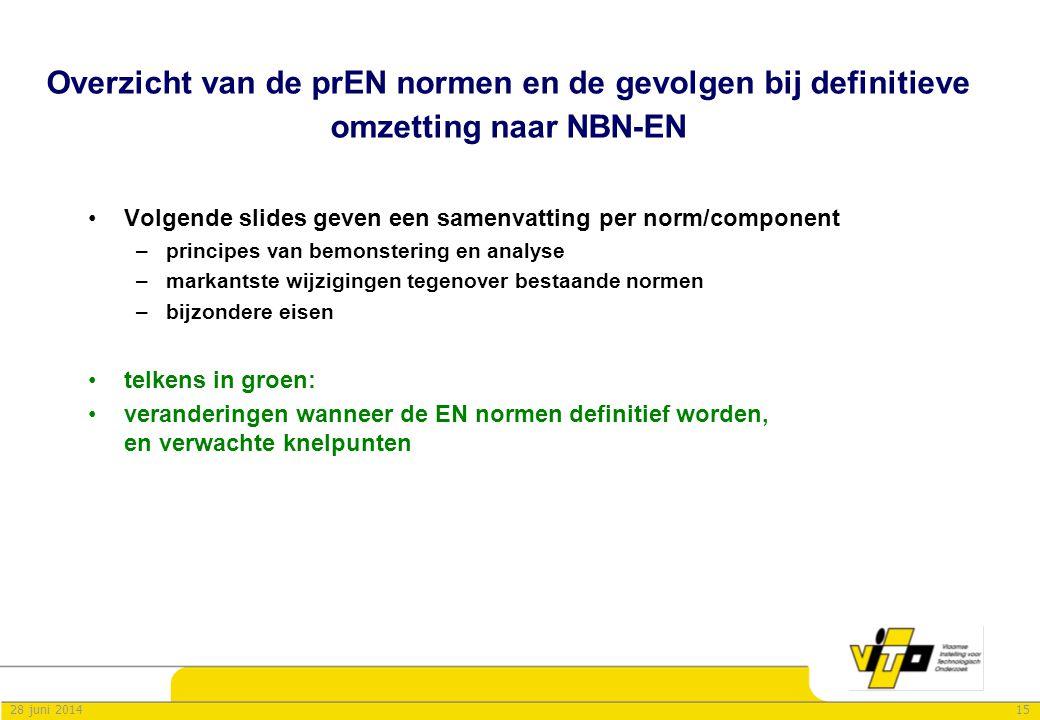 1528 juni 2014 Overzicht van de prEN normen en de gevolgen bij definitieve omzetting naar NBN-EN •Volgende slides geven een samenvatting per norm/comp