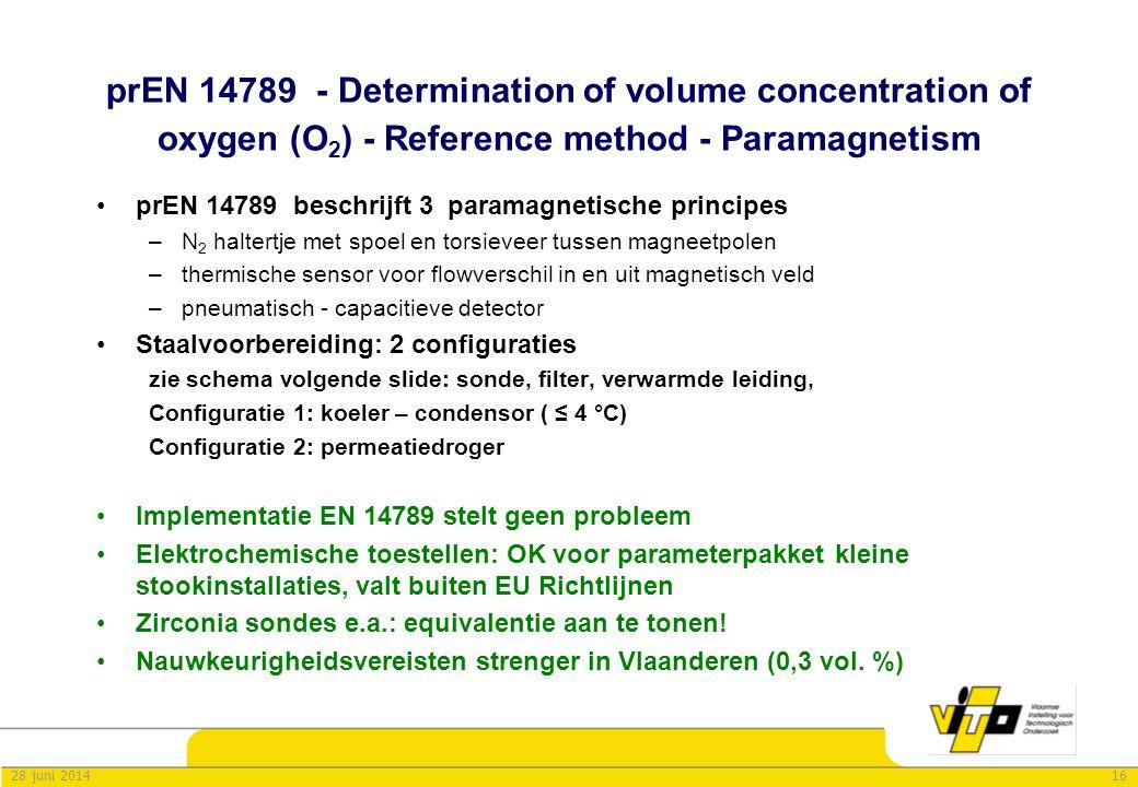 1628 juni 2014 prEN 14789 - Determination of volume concentration of oxygen (O 2 ) - Reference method - Paramagnetism •prEN 14789 beschrijft 3 paramag