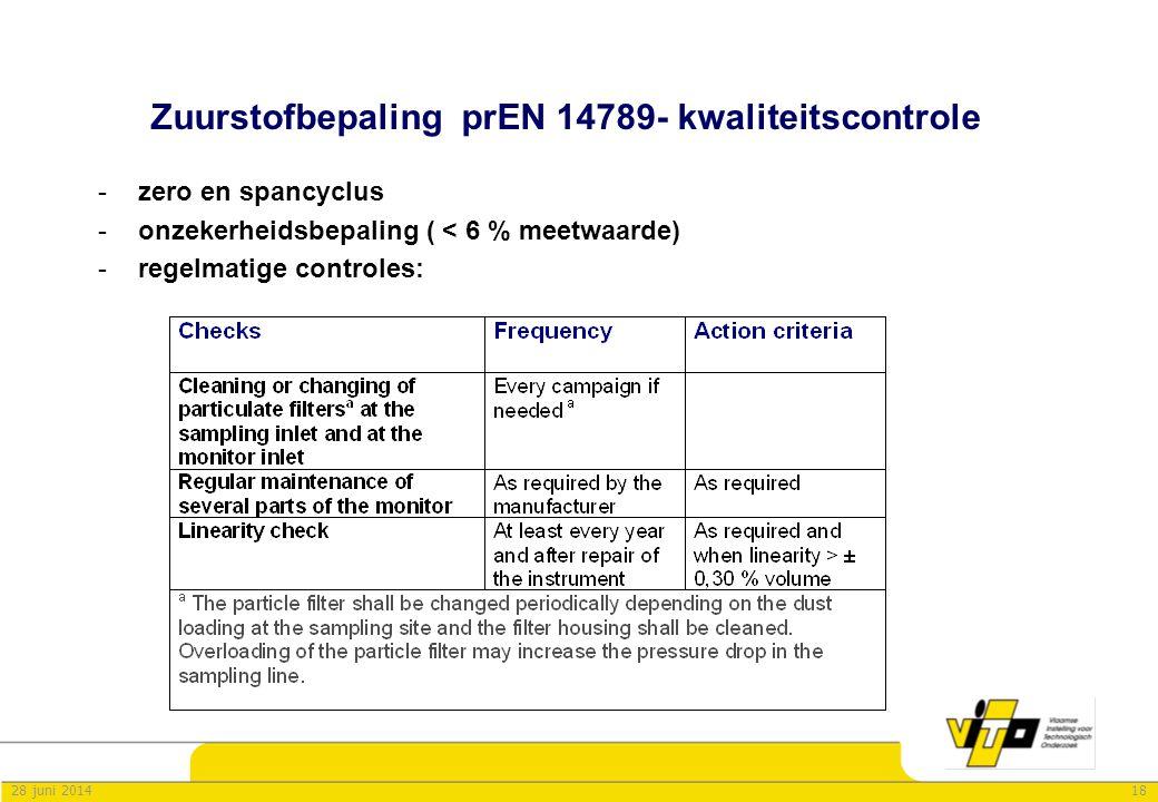 1828 juni 2014 Zuurstofbepaling prEN 14789- kwaliteitscontrole -zero en spancyclus -onzekerheidsbepaling ( < 6 % meetwaarde) -regelmatige controles:
