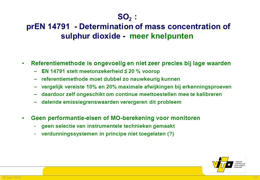 2328 juni 2014 SO 2 : prEN 14791 - Determination of mass concentration of sulphur dioxide - meer knelpunten •Referentiemethode is ongevoelig en niet z