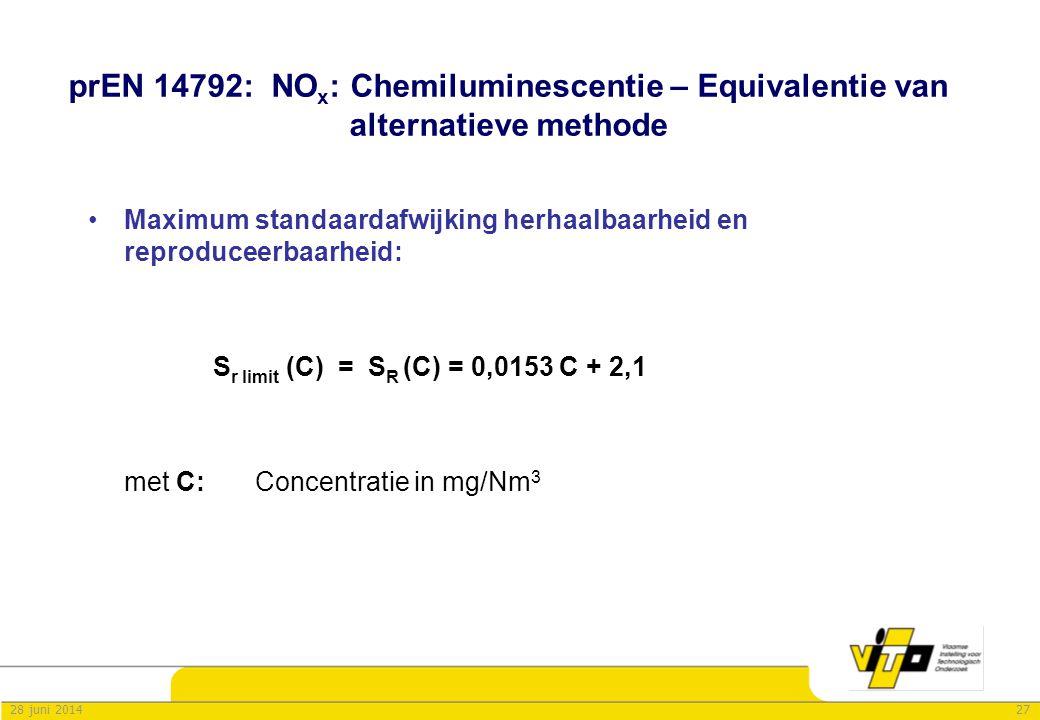 2728 juni 2014 prEN 14792: NO x : Chemiluminescentie – Equivalentie van alternatieve methode •Maximum standaardafwijking herhaalbaarheid en reproducee