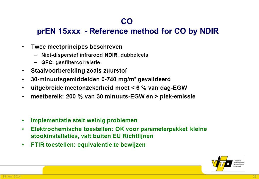 2828 juni 2014 CO prEN 15xxx - Reference method for CO by NDIR •Twee meetprincipes beschreven –Niet-dispersief infrarood NDIR, dubbelcels –GFC, gasfil