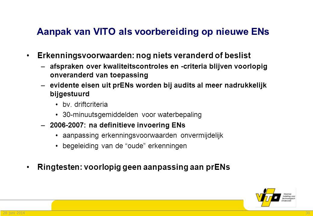 3028 juni 2014 Aanpak van VITO als voorbereiding op nieuwe ENs •Erkenningsvoorwaarden: nog niets veranderd of beslist –afspraken over kwaliteitscontro
