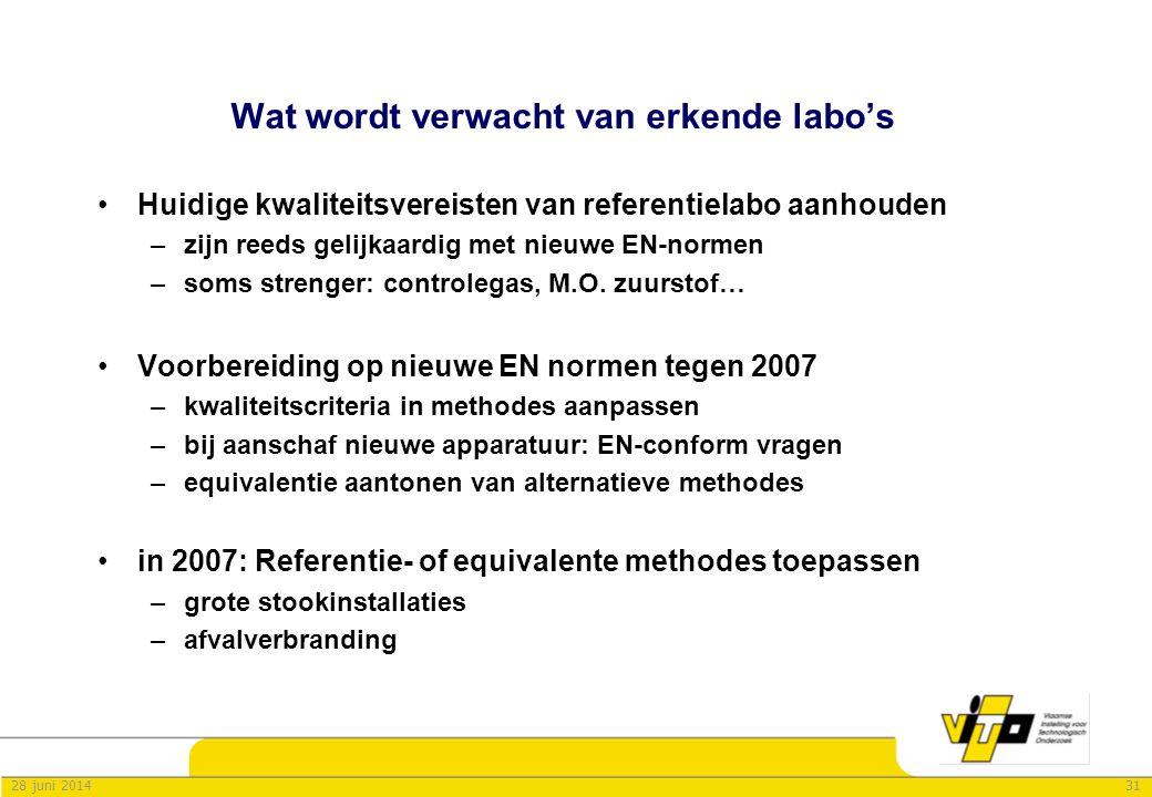 3128 juni 2014 Wat wordt verwacht van erkende labo's •Huidige kwaliteitsvereisten van referentielabo aanhouden –zijn reeds gelijkaardig met nieuwe EN-