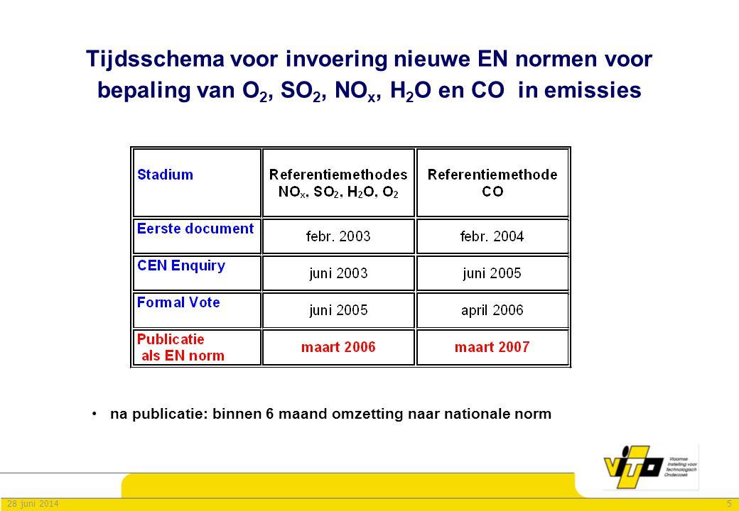 628 juni 2014 Veldvalidaties van O 2, SO 2, NO x, CO en H 2 O metingen uitgevoerd bij ontwikkeling van prEns 14789 - 14792 •uitgevoerd door deelnemers CEN TC264 WG16 (juni 2000 – juni 2002) •6 meetcampagnes x 4 labo's x 2 parallelmetingen x (3 -5) tests –INERIS testcircuit (F) –huisvuilverbranding (DK) –huisvuilverbranding (I) –co-verbranding hout-afval-turf (S) –cementoven met co-verbranding (D) –steenkoolcentrale (D) •Opzet en evaluatie volgens ISO 5725-2 – Statistics, Accuracy & trueness of measuring method •Performantie-criteria –gemiddelde van deelnemende labo's werd overgenomen in normen •Herhaalbaarheid en reproduceerbaarheid –Lineaire relatie i.f.v.