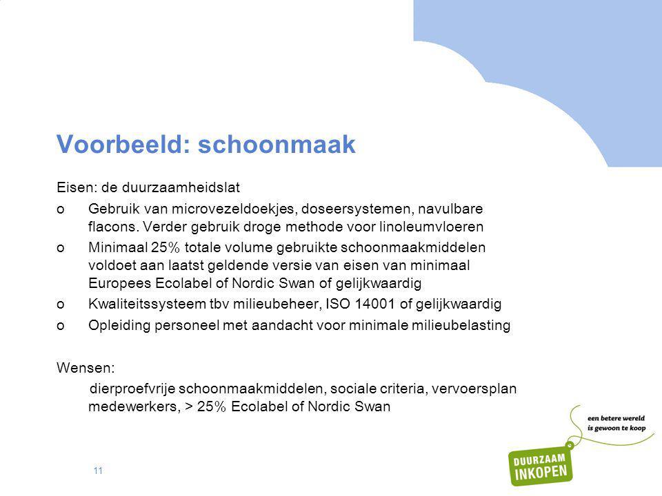 11 Voorbeeld: schoonmaak Eisen: de duurzaamheidslat oGebruik van microvezeldoekjes, doseersystemen, navulbare flacons. Verder gebruik droge methode vo