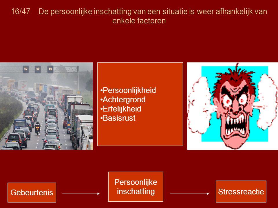 16/47De persoonlijke inschatting van een situatie is weer afhankelijk van enkele factoren Gebeurtenis Persoonlijke inschatting Stressreactie •Persoonl