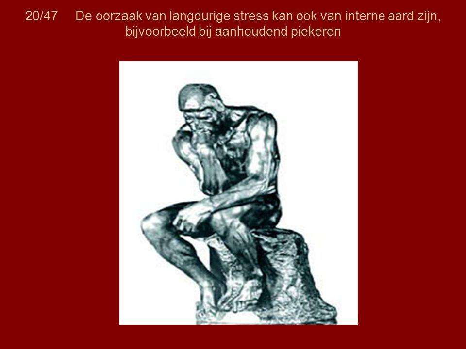 20/47 De oorzaak van langdurige stress kan ook van interne aard zijn, bijvoorbeeld bij aanhoudend piekeren