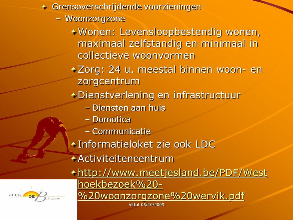 Vittel 05/10/2009 Grensoverschrijdende voorzieningen –Woonzorgzone Wonen: Levensloopbestendig wonen, maximaal zelfstandig en minimaal in collectieve woonvormen Zorg: 24 u.