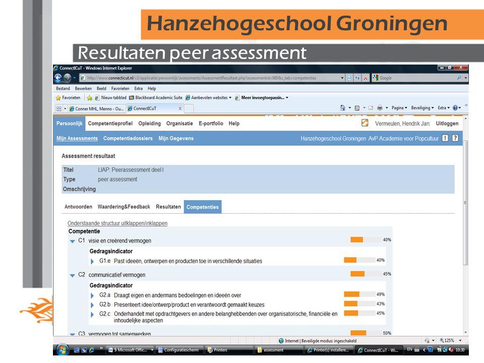 Resultaten peer assessment Hanzehogeschool Groningen