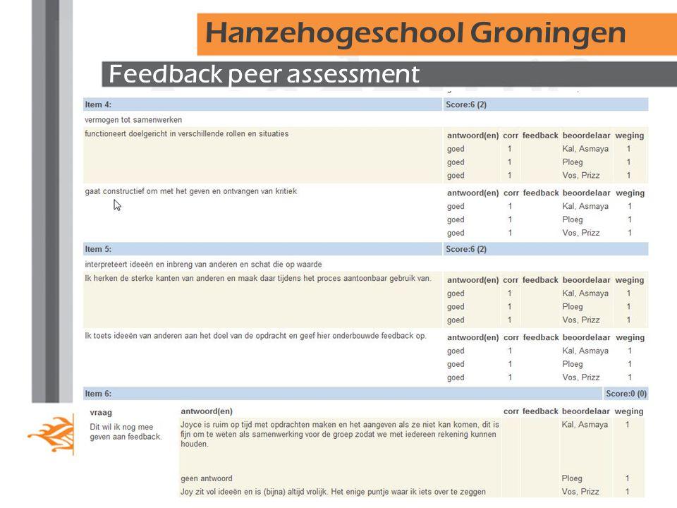 Feedback peer assessment Hanzehogeschool Groningen