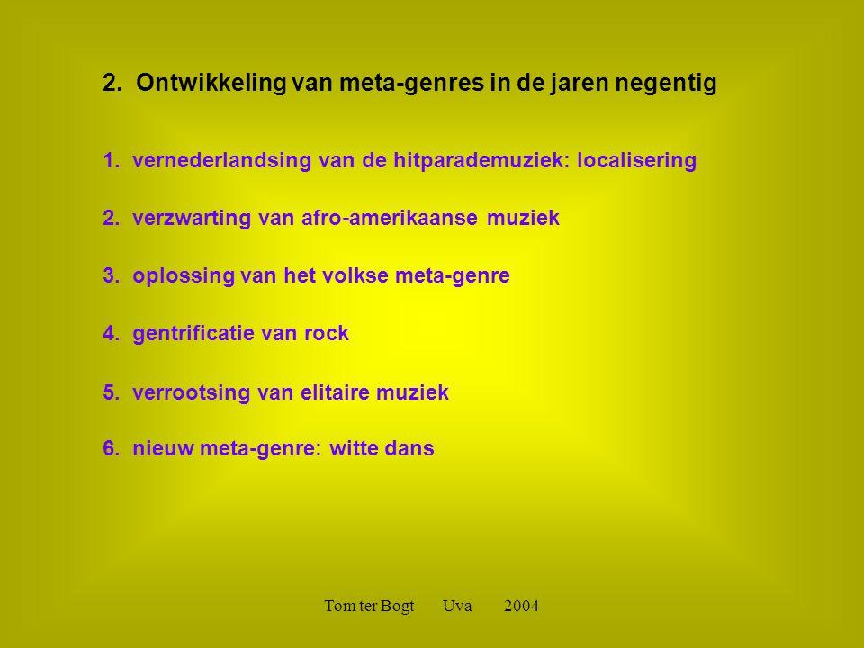 Tom ter Bogt Uva 2004 2. Ontwikkeling van meta-genres in de jaren negentig 1. vernederlandsing van de hitparademuziek: localisering 2. verzwarting van