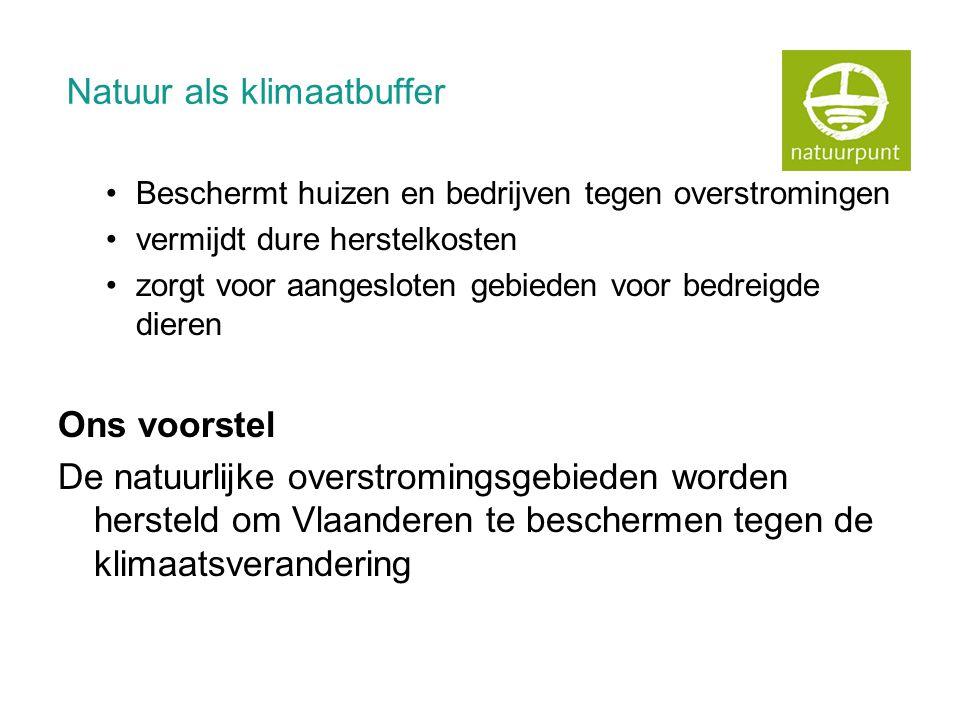 Natuur als klimaatbuffer •Beschermt huizen en bedrijven tegen overstromingen •vermijdt dure herstelkosten •zorgt voor aangesloten gebieden voor bedreigde dieren Ons voorstel De natuurlijke overstromingsgebieden worden hersteld om Vlaanderen te beschermen tegen de klimaatsverandering